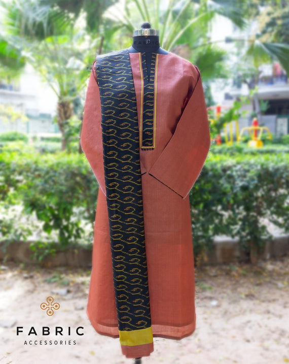 Semi Stitched Original Silk Mark Kurta with Ikkat Yoke and Ikkat Dupatta-Brown
