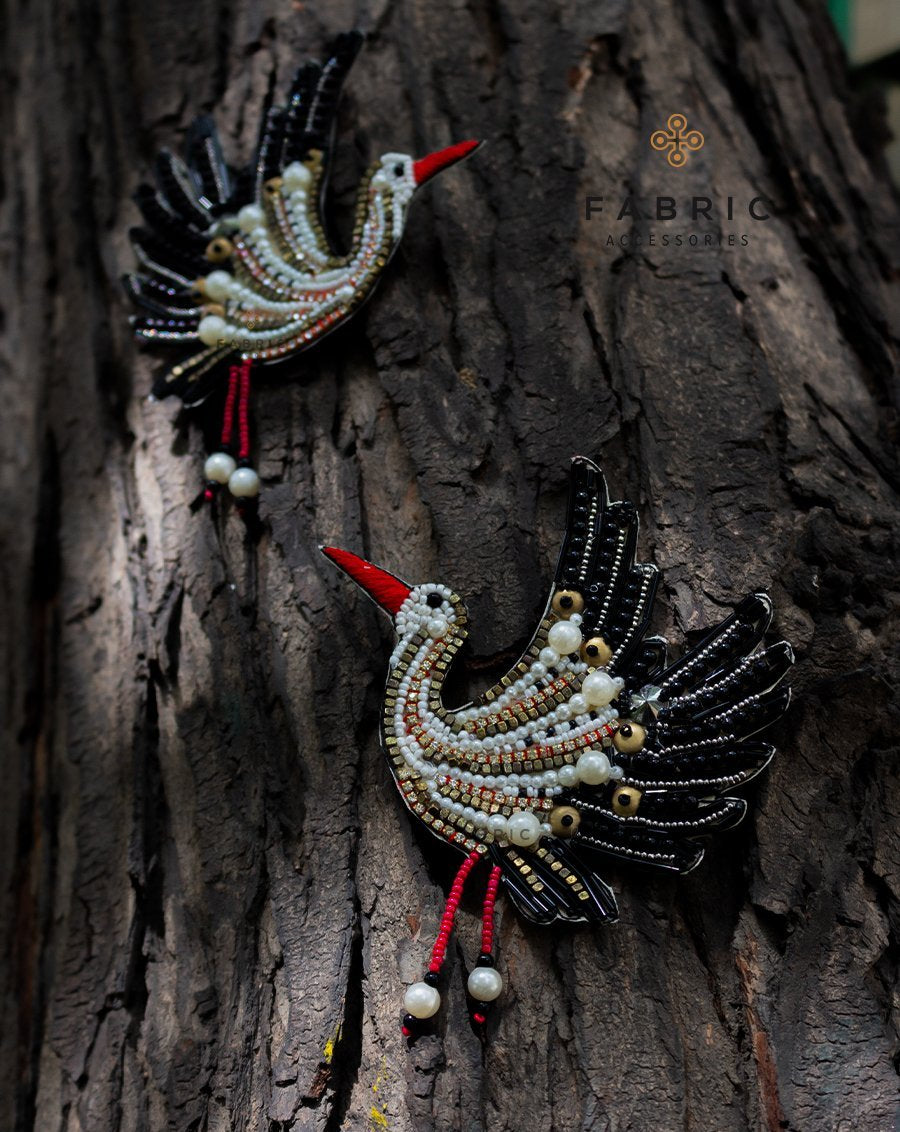 Embellished Red Beak Bird Patch