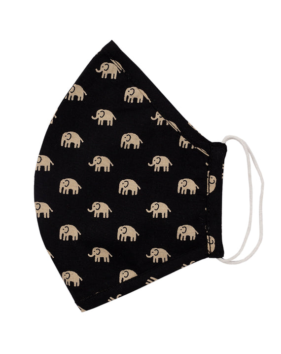 Navy blue elephant printed face mask