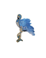 Handmade embroidery patch Flamingo Feather Bird-Light Blue
