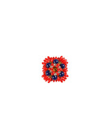 Designer floral  metal buttons decorated with rhinestones-Blue&Red