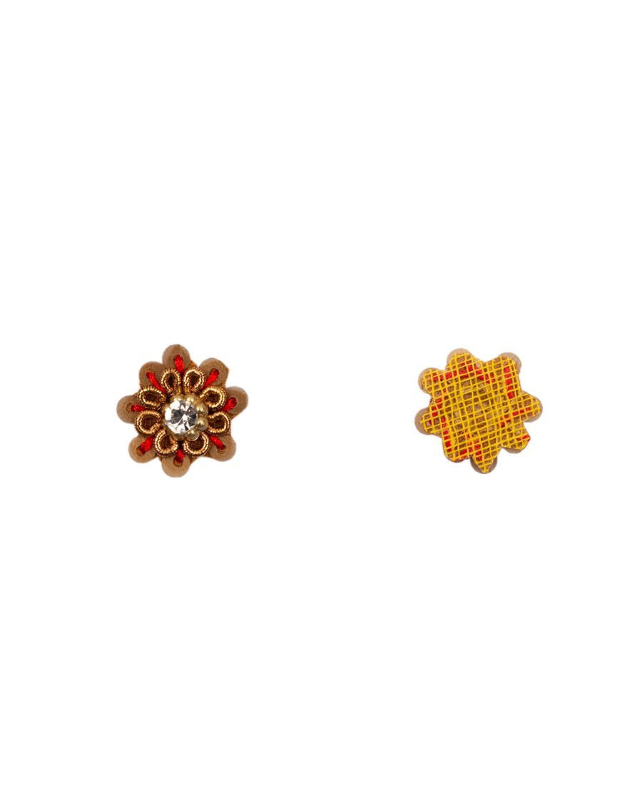 Sequins and rhinestone flower Patch-Red