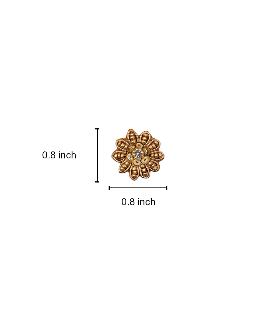 Handmade embroidery patch in golden bead floral design