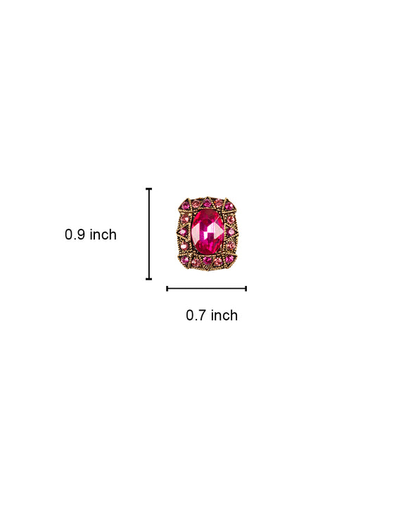Crystal Metal button decorated with rhinestones-Hot Pink