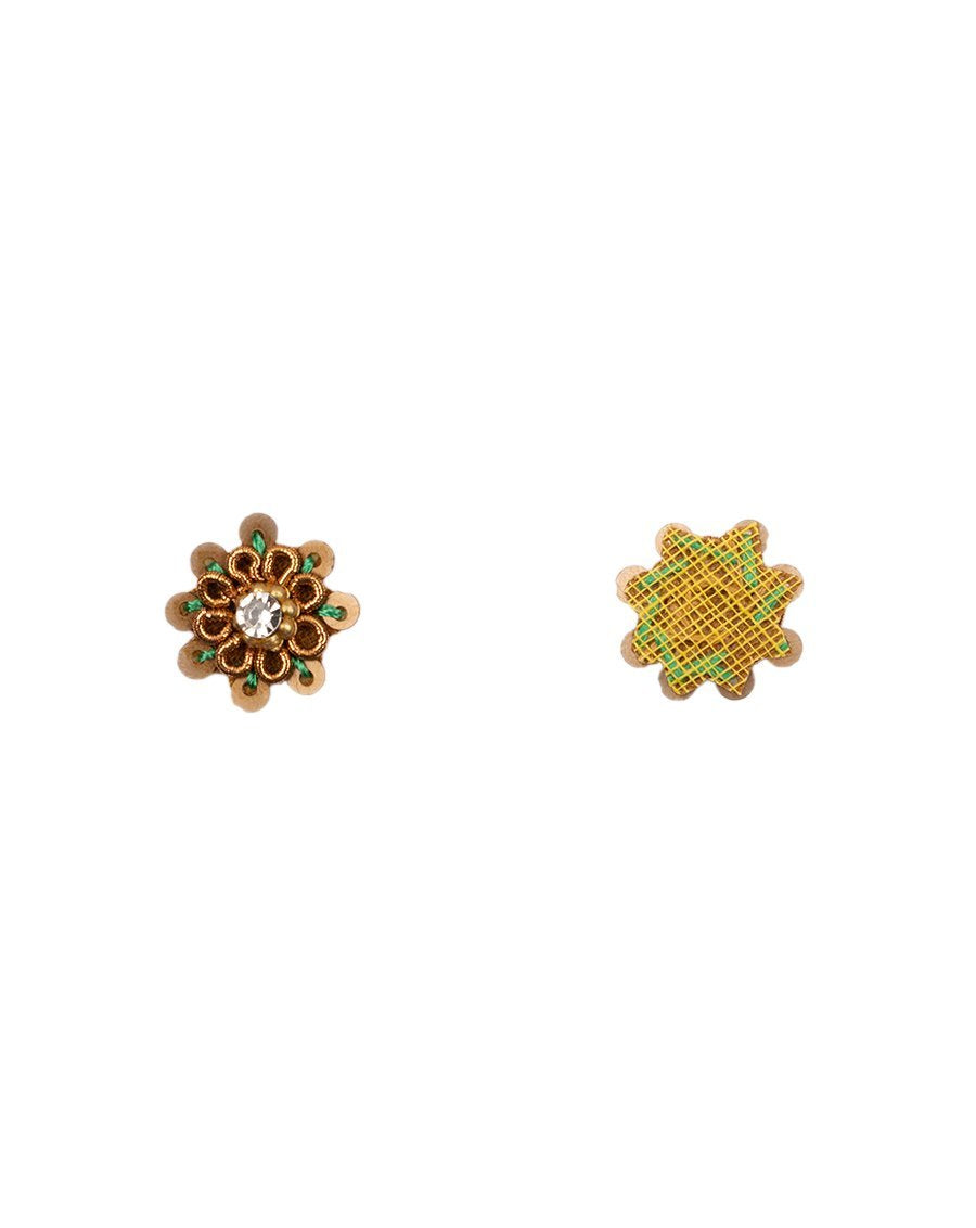 Sequins and rhinestone flower Patch-Green