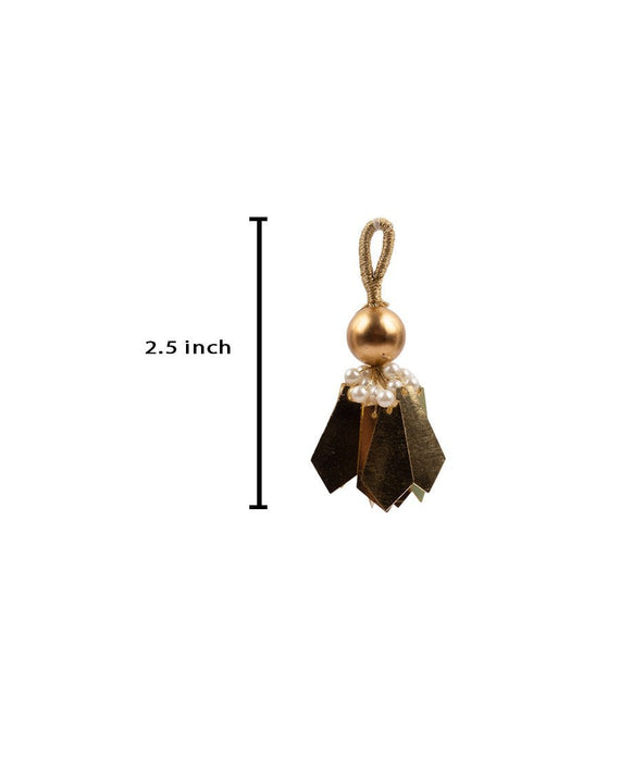Big Round Pearl and Pentagon Tassel-Copper