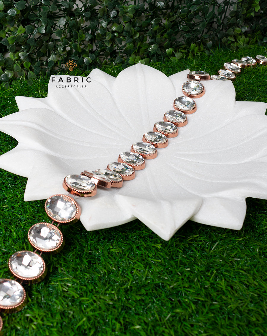 Copper Plated Oval White Big Stones Plastic base Chain