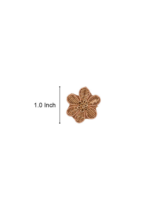 Handmade Embroidery Patch in Zardozi Flower Style-Copper Gold