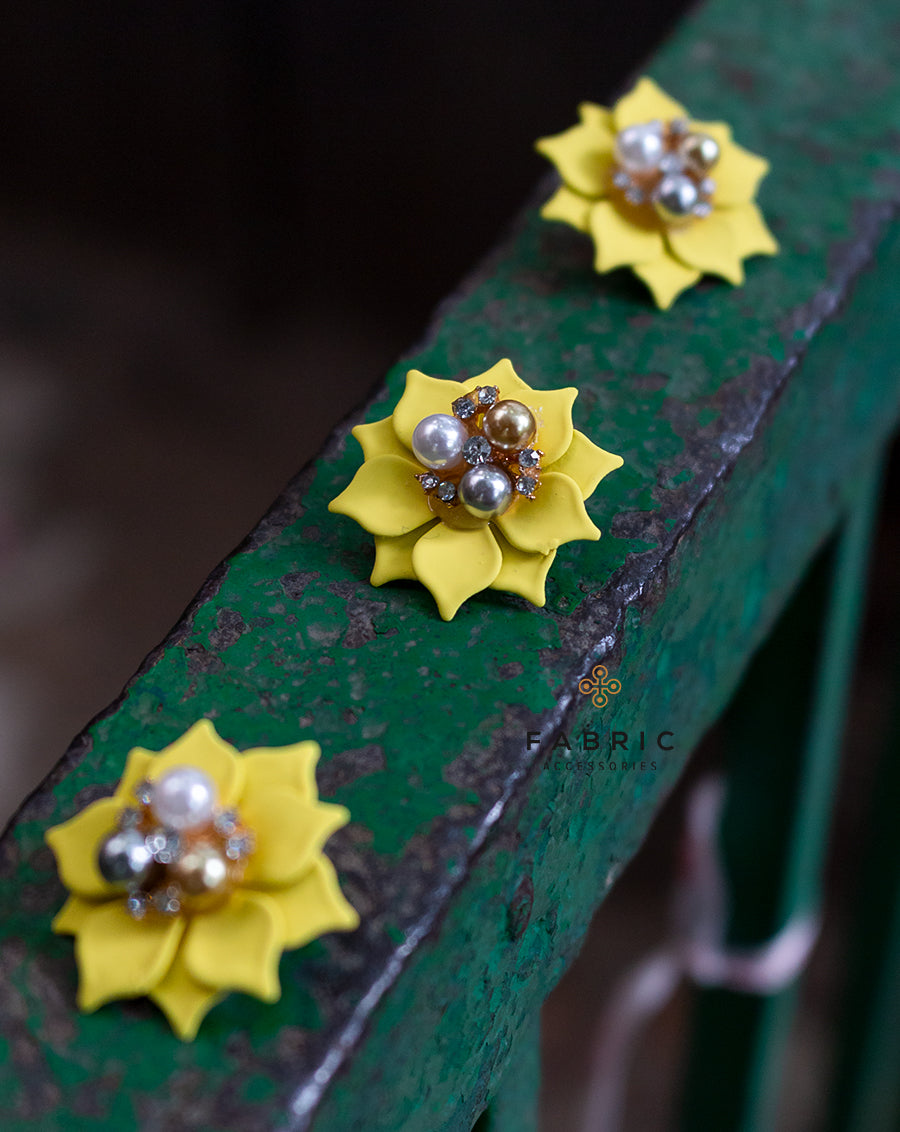 Flower with Pearl & Rhinestone Button-Yellow