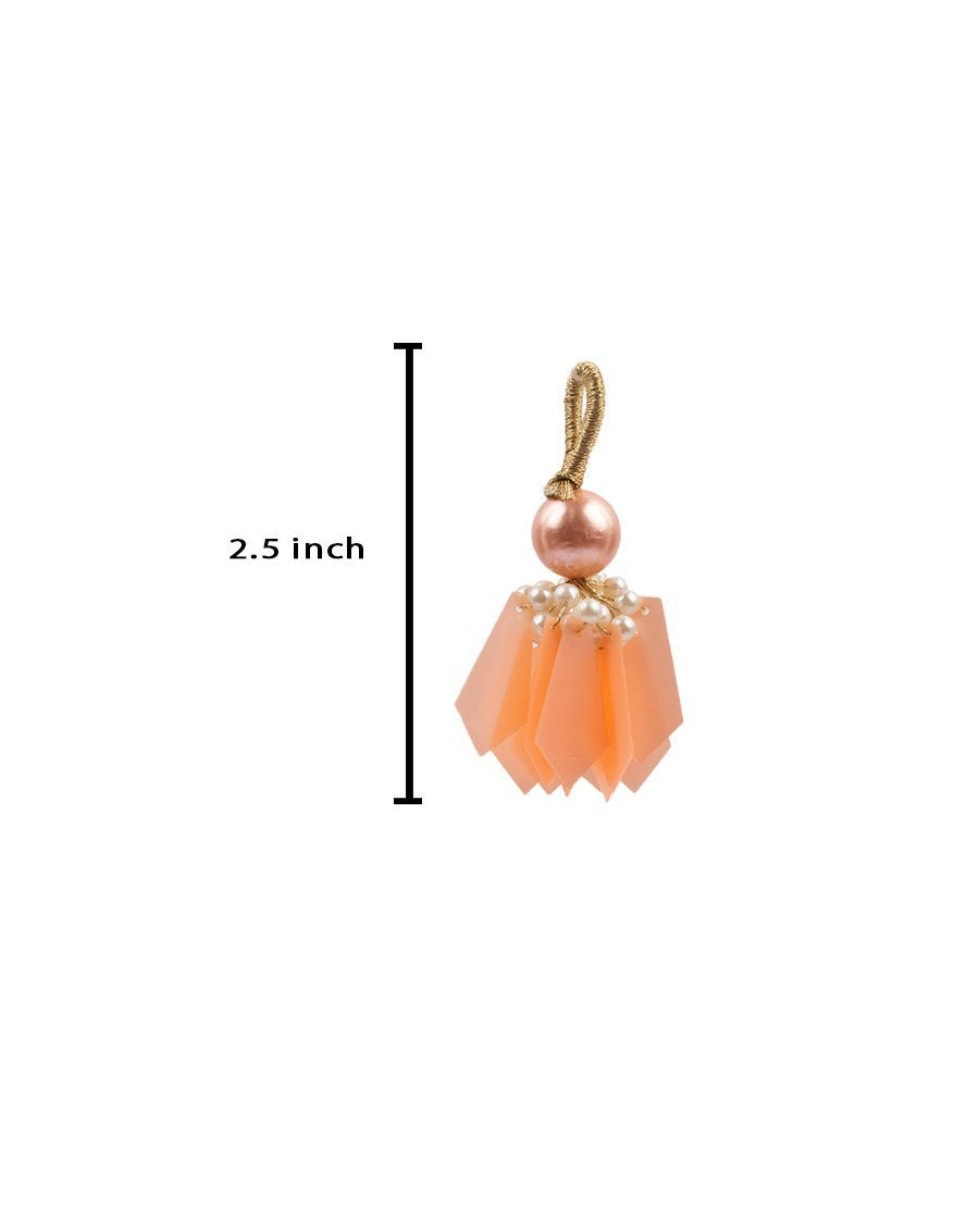 Big Round Pearl and Pentagon Tassel-Peach