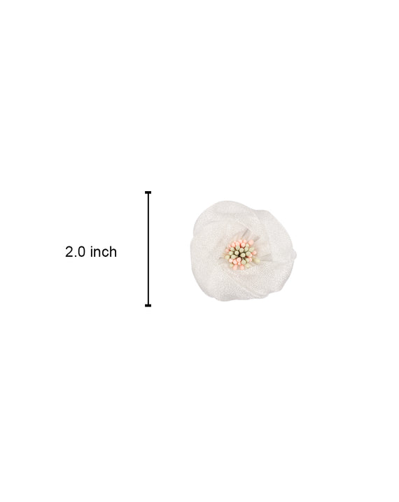 Closed Flower Fabric Patch-White