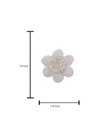 3D flower patch with bugle bead centre - WHITE