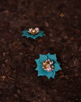 Flower with Pearl & Rhinestone Button-Aqua Green