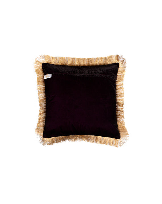 Velvet Sequins Cushion Cover with Golden Fringe Lace