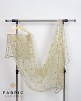 Net Dupatta with Sequin Booti and Zari Border-Olive Green