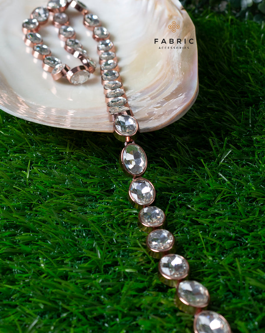 Copper Plated Oval White Small Stones Plastic base Chain