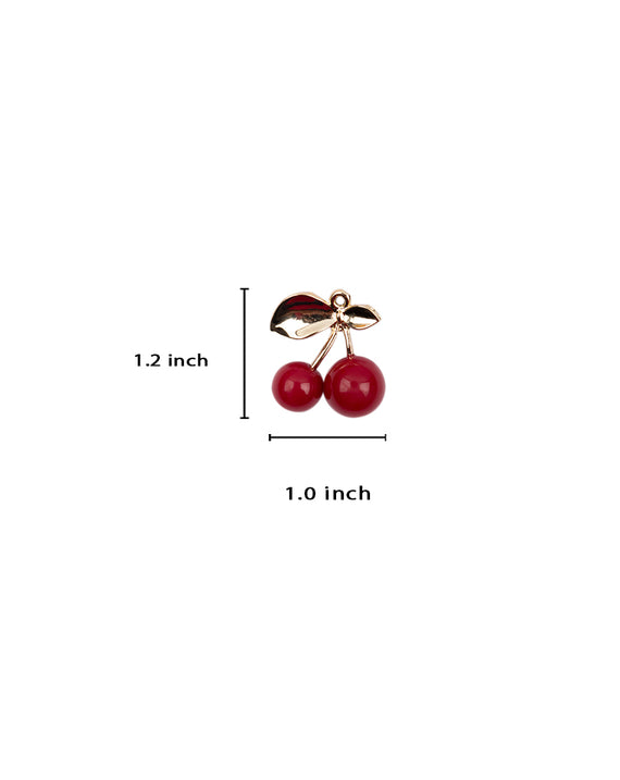 Red Cherry Metal Button