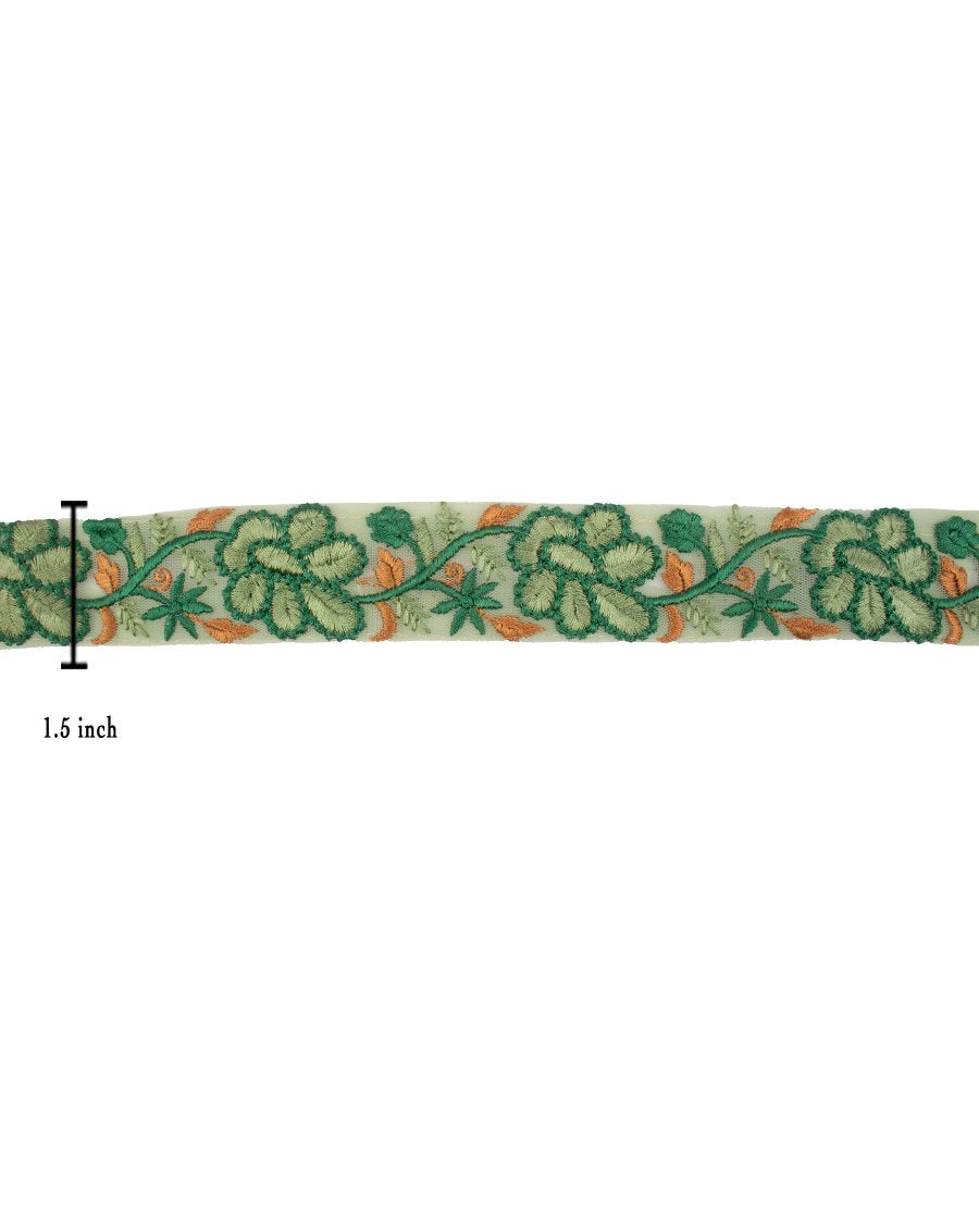 Net based lace in floral thread embroidery - GREEN