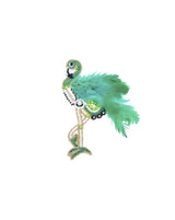 Handmade embroidery patch Flamingo Feather Bird-Green