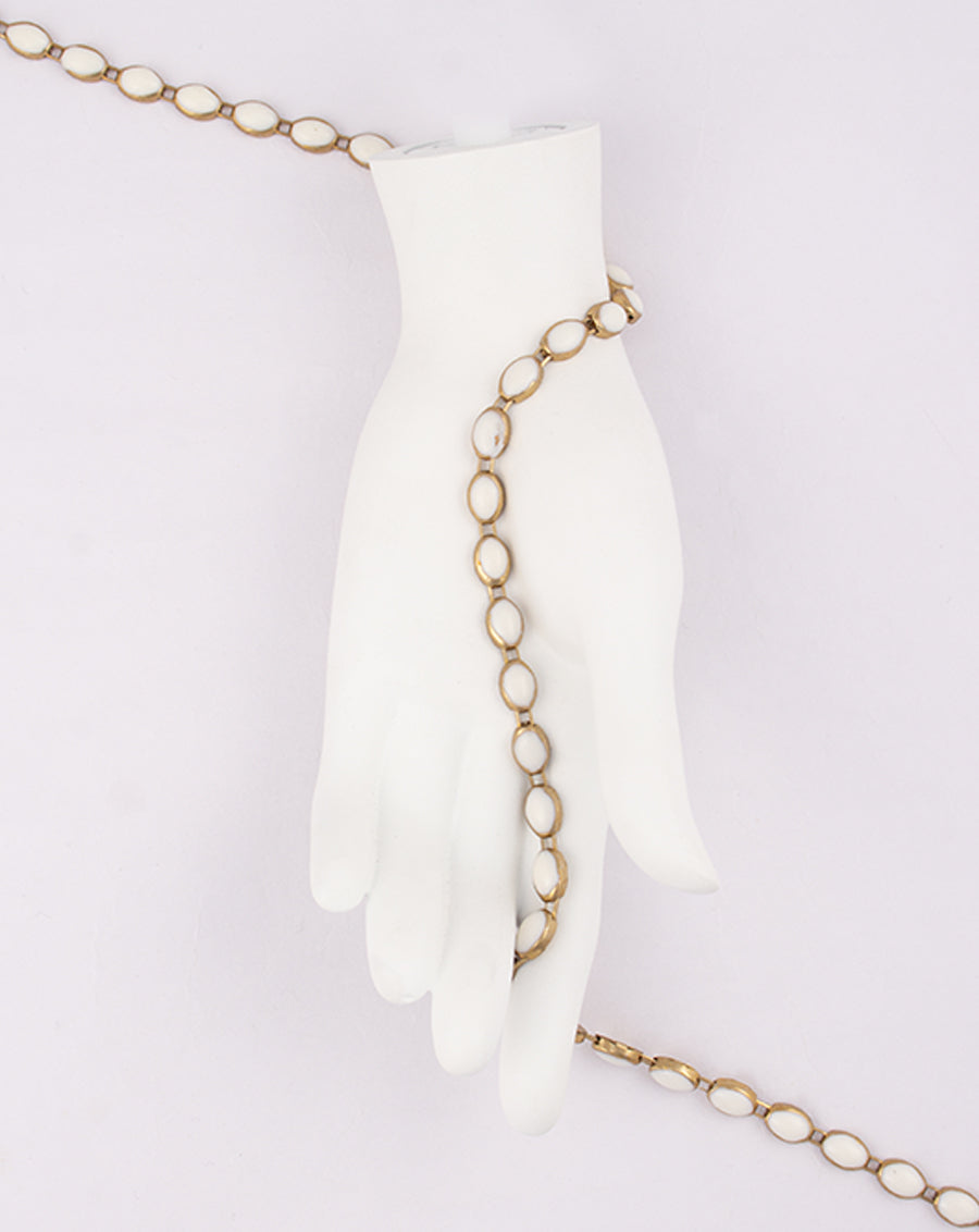 Gold Plated round shape beige colored Metal Chain