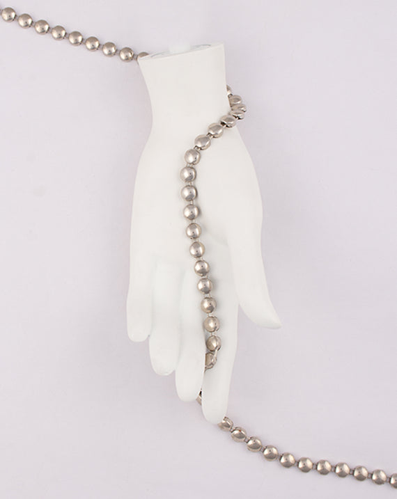 Silver Plated bead design Metal Chain