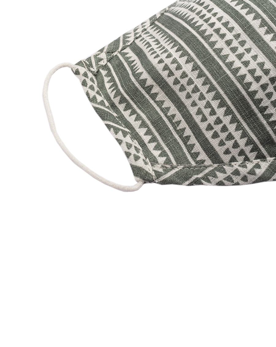 Dull Green tribal stripe face mask