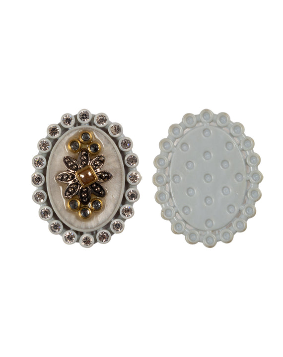 Oval Designer metal and rhinestone embellished button-White