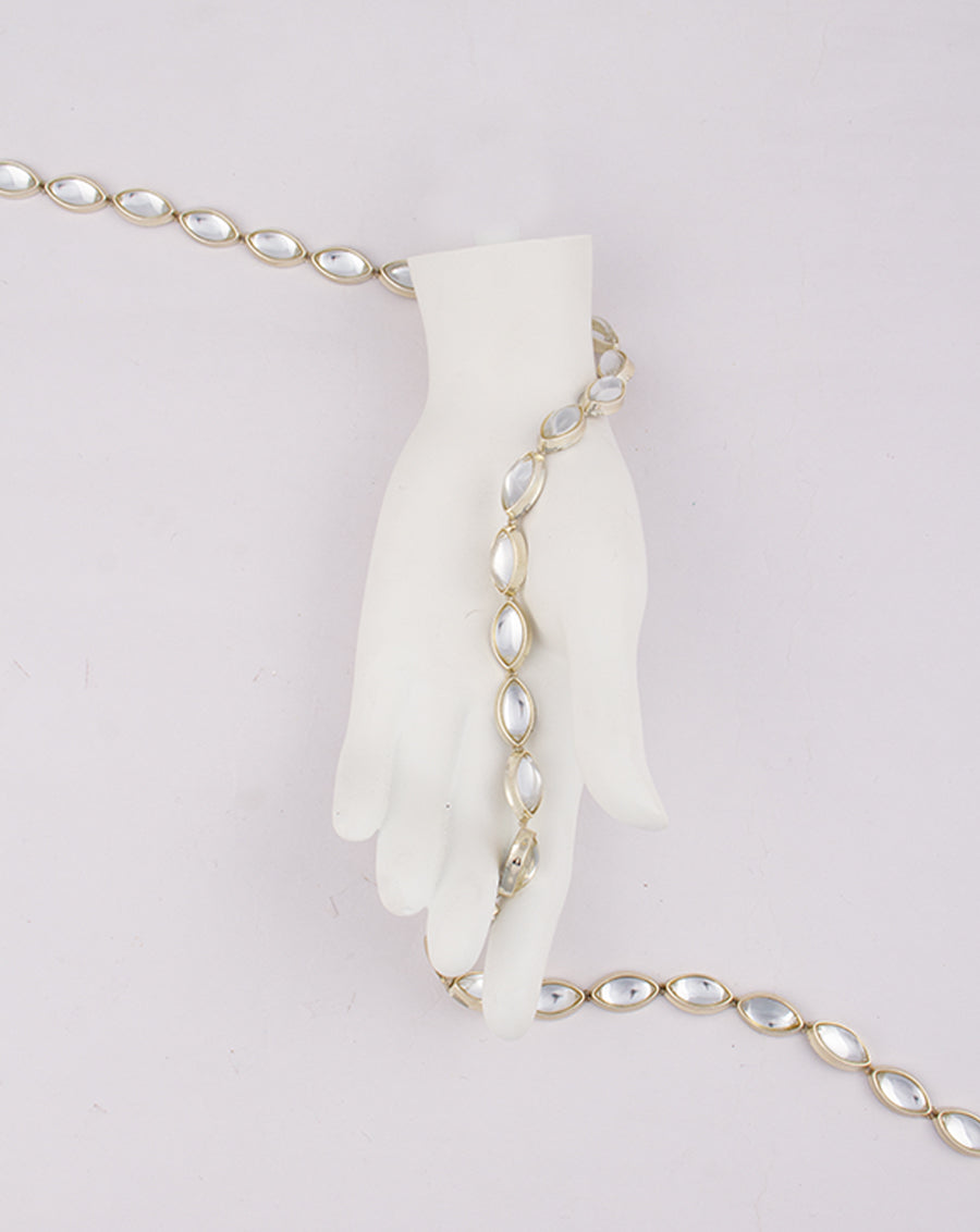 Water Gold Plated Leaf shaped White stones Plastic base Chain