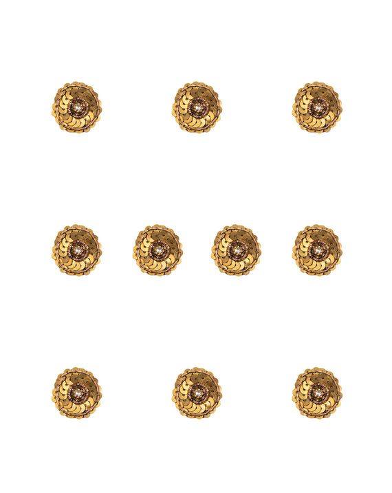 Handmade embroidery patch in golden round sequins and rhinestone