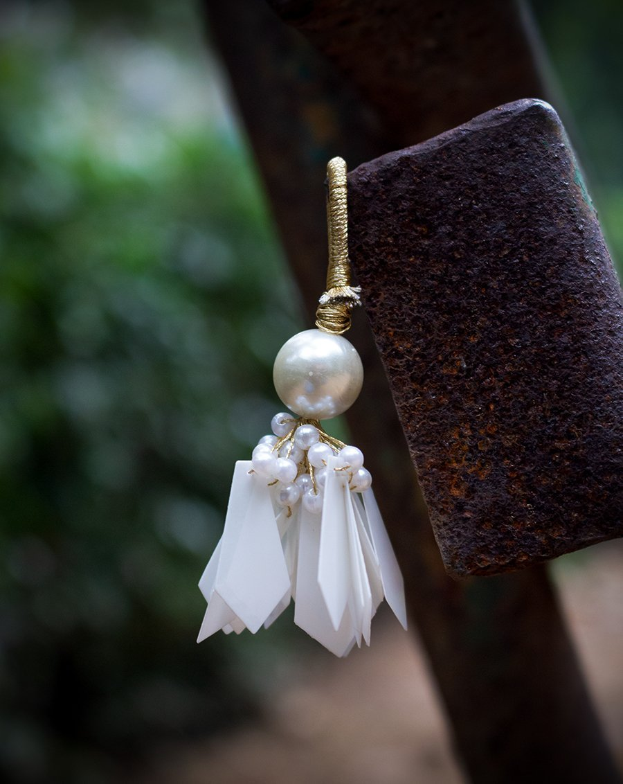 Big Round Pearl and Pentagon Tassel-White