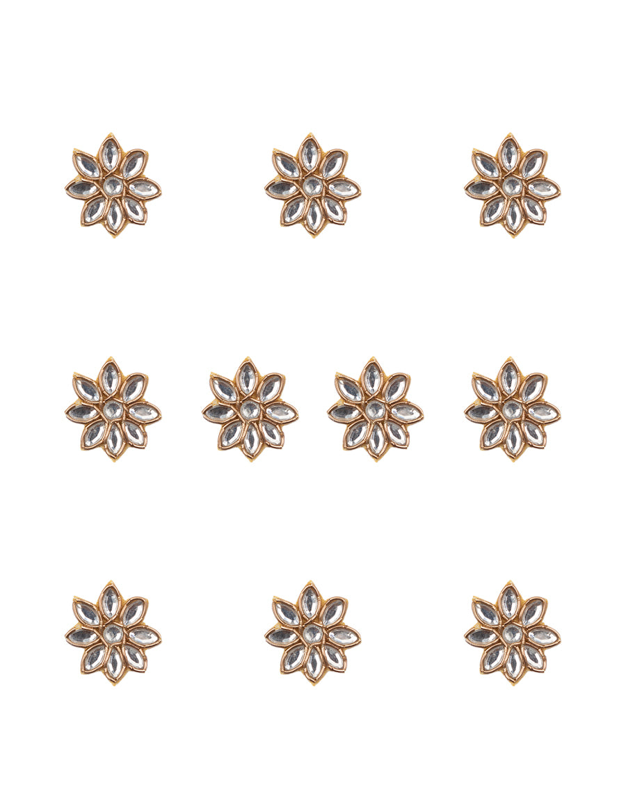 Handmade Golden embroidery patch in kundan flower design