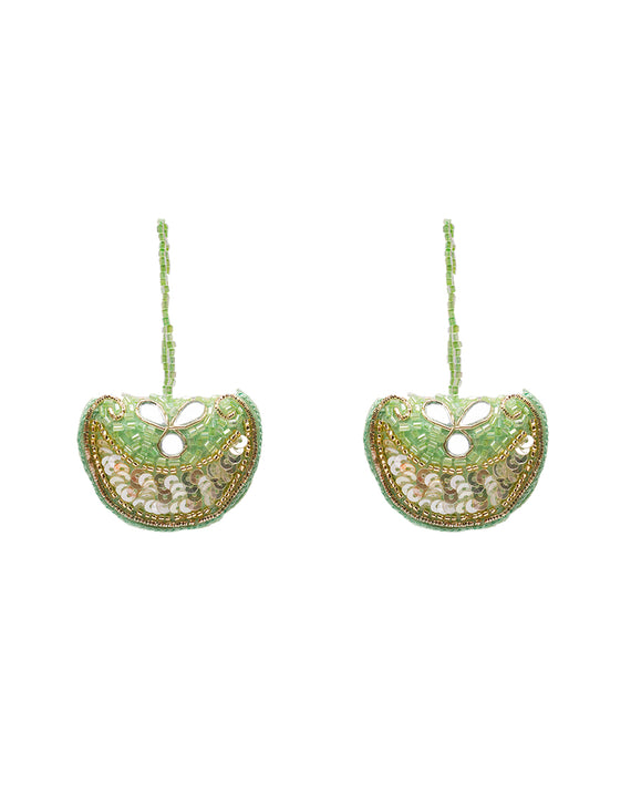 Embroidered mirror and bugle bead tassel-Green