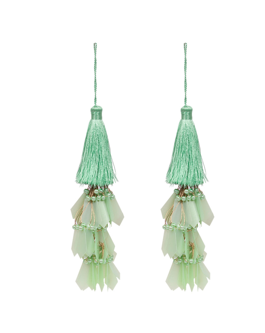 Hanging thread and pearls long fringing tassel-Mint Green