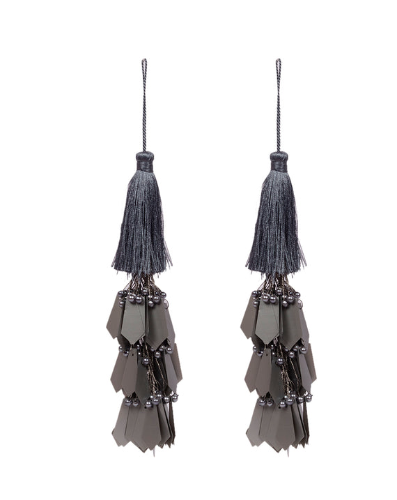 Hanging thread and pearls long fringing tassel-Grey