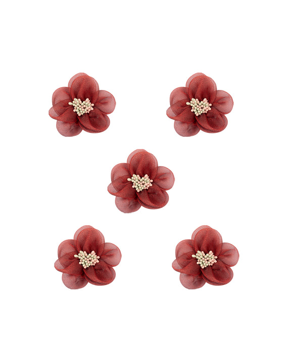 Open Flower Fabric Patch-Maroon
