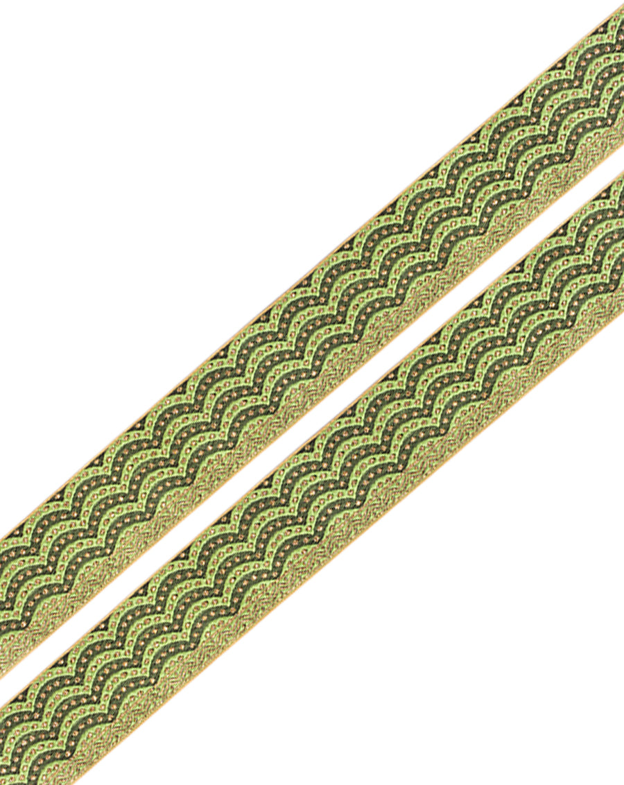 Scallop Design Jacquard Lace-Green