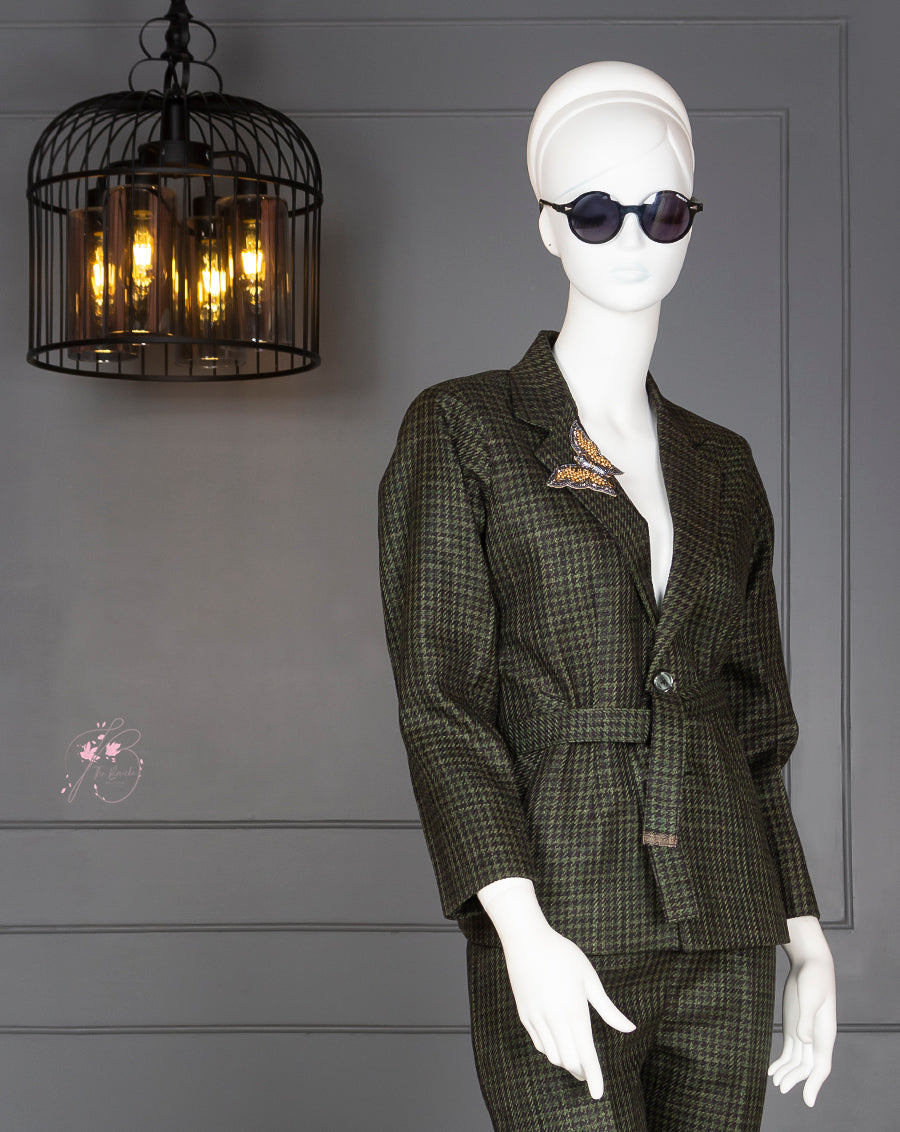 Green Tweed Fabric Suit with Handmade Bee Patch at collar