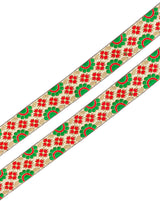 Floral Design Jacquard Lace-White&Red