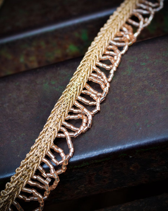 Bugle Bead/Cut daana Scallop Lace Border-Rose Gold