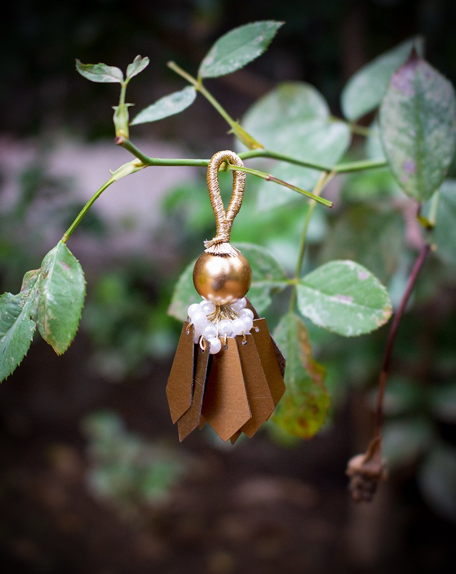 Big Round Pearl and Pentagon Tassel-Copper Gold