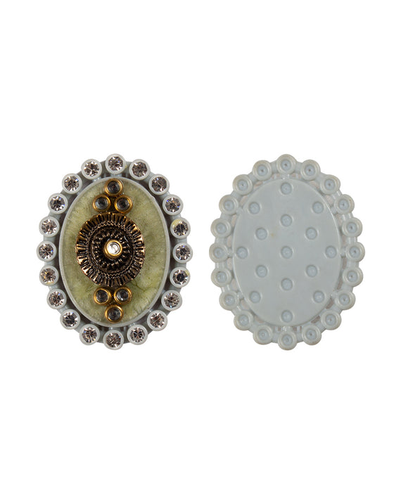 Petal Shaped Designer metal and rhinestone embellished button-Blue