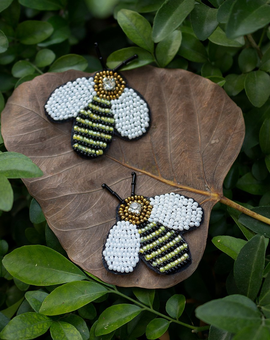 Handmade Bee Patch-Light Yellow