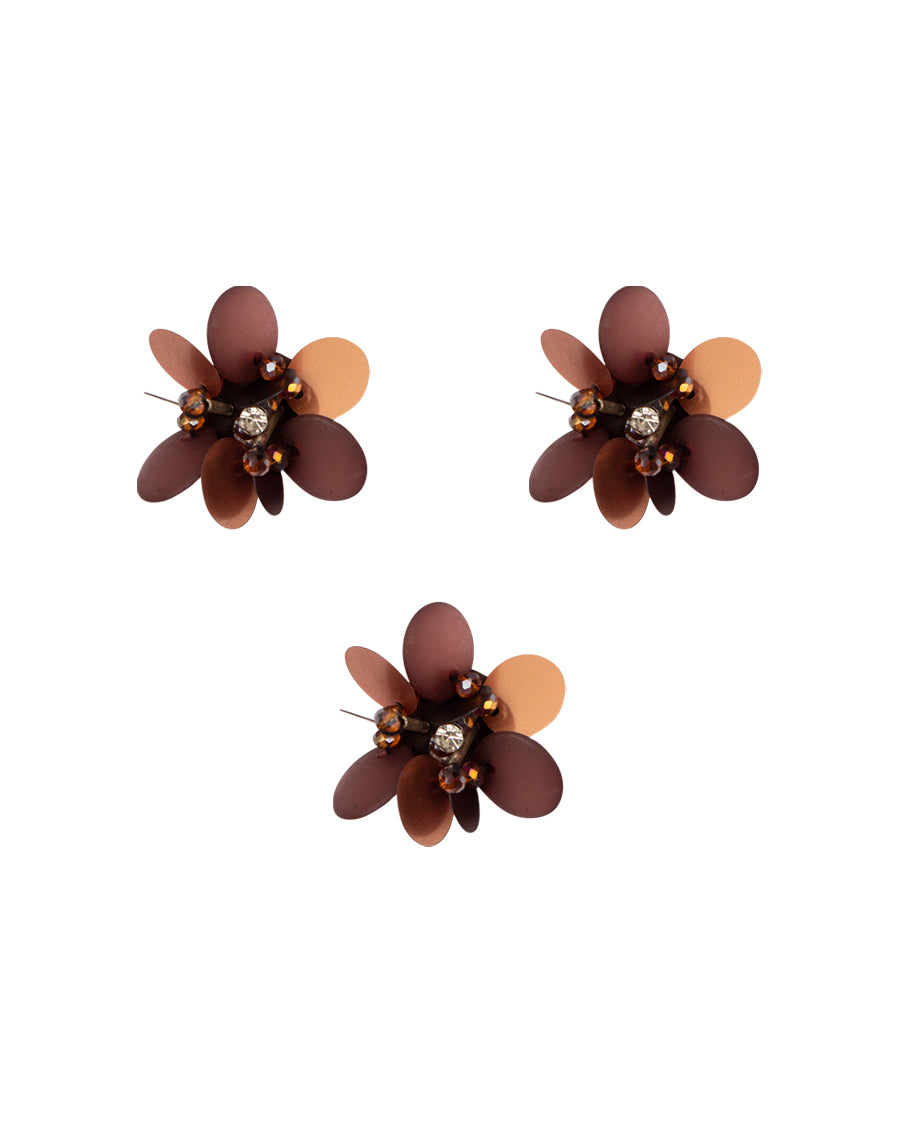 3D flower patch in shining sequin with centre in Rhinestone -Copper