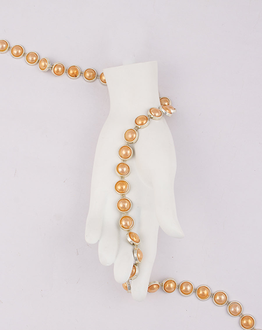 Water Gold Plated with Round Peach Stones Plastic Base Chain