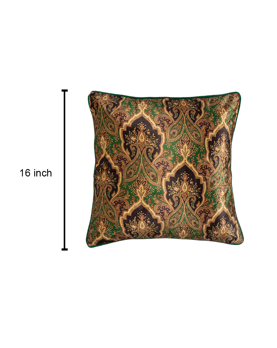 Green Designer Paisley Cushion Cover