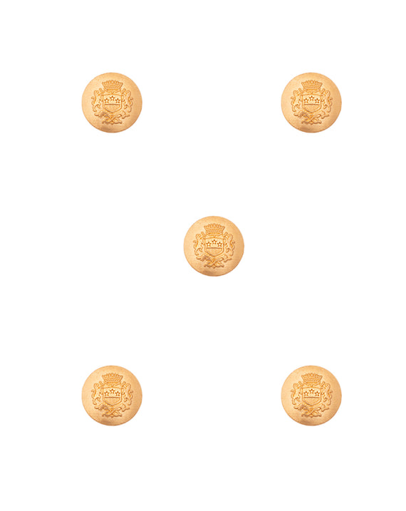 Designer Unisex metal buttons in military lion emblem design-Golden
