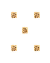 Designer Unisex metal buttons in square embossed flower-Golden
