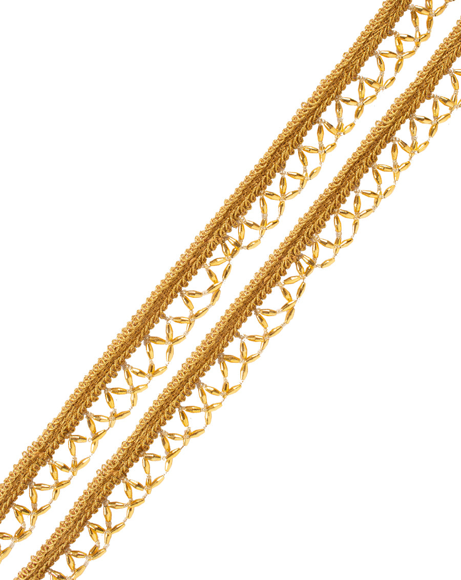 Thin beadwork Lace-Gold