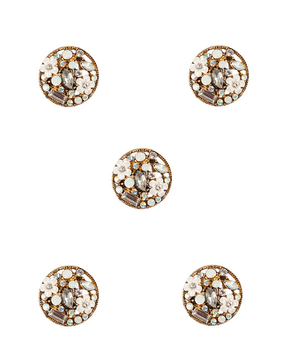 Designer round  metal buttons decorated with rhinestones-Golden