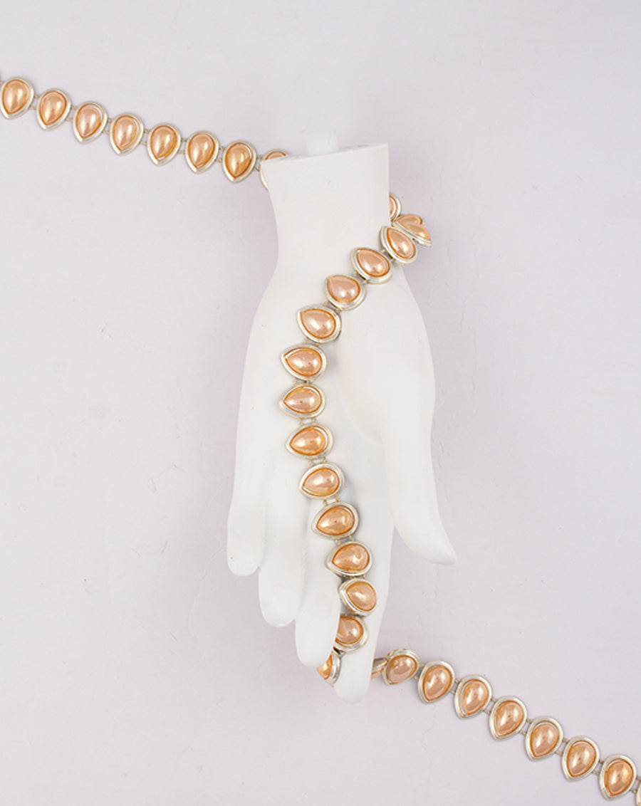 Water Gold Plated Leaf shaped orange stones Plastic base Chain